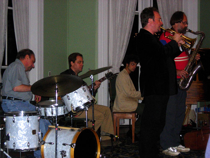 Andy Brown with Jon-Erik Kellso, Scott Robinson, Ehud Asherie, and Arnie Kinsella at Jazz at Chautauqua 2009